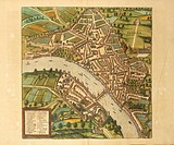 Cartography, Switzerland, 16th century. Map of Basel. From Civitates Orbis Terrarum by Georg Braun (1541-1622) and Franz Hogenberg (1540-1590), Cologn...