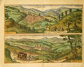 Cartography, Italy, 16th century. Map of Nocera and Castelnuovo. From Civitates Orbis Terrarum by Georg Braun (1541-1622) and Franz Hogenberg (1540-15...
