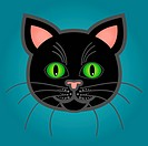 Cute and fun graphic cartoon black cat on blue background.