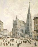 St Stephen Square in Vienna, Austria 19th Century. Watercolour.  Vienna, Historisches Museum Der Stadt Wien (History Museum)