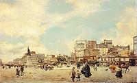 Clichy Square, Paris, 1874, by Giovanni Boldini (1842-1931), oil on canvas, 60x98 cm.  Private Collection