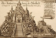 Austria, 18th century. The Bergkirke Church in Eisenstadt (Kismarton in Hungarian). Print.