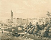 Sweden, 19th century. View of the city of Gothenburg. Print  Prague, Muzeum Bedricha Smetany (Bedricha Smetany Museum, Music Museum)