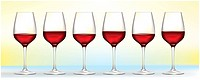 six red wine glasses on soft background.