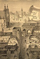 St Stephen Square in Vienna at the end of 18th century, Austria. Engraving.