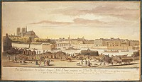 France, 18th century. Ile de la Cite (City island), Notre-Dame Cathedral and the banks of the Seine in Paris in 1770.  Paris, Hôtel Carnavalet (Art Mu...