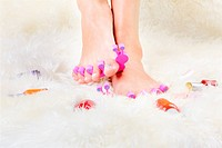 body part shot of healthy woman´s feet in pedicure toe separators with vials of nail olish around