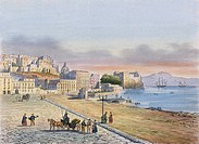 View of Chiatamone and Castel dell'Ovo in Naples, engraving, Italy 19th century.