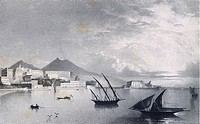 The marina, Naples, lithograph, Italy 19th century.