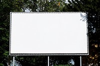 Empty billboard on background wood