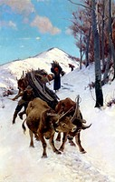 Difficult going on the snow, 1876-1877, by Stefano Bruzzi (1835-1911), oil on canvas, 75x50 cm.  Private Collection
