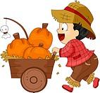 Illustration of a Toddler Pushing a Pumpkin Cart_ eps8