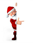 Cartoon Santa Claus pointing at something from behind a blank sign _ high quality 3d illustration