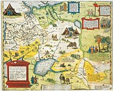 Cartography, 16th century. Map of Russia, from Theatrum Orbis Terrarum by Abraham Ortelius (1528-1598), Antwerp, 1570.  Genoa Pegli, Civico Museo Nava...