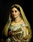 The Woman with the Veil, ca 1516, by Raphael Sanzio (1483-1520), oil on wood, 85x64 cm.  Florence, Palazzo Pitti (Pitti Palace) Galleria Palatina (Pal...