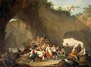 Ordinary people having lunch in front of the grotto, by Pietro Fabris (1740-1792), Italy 18th Century.  Caserta, Reggia Di Caserta Palazzo Reale