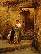 Peasant with goats, by Vincenzo Caprile (1856-1936), oil on canvas, 52x48 cm.  Naples, Museo Civico Di Castel Nuovo (Art Museum)