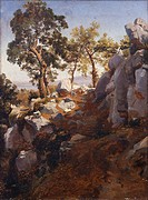 Landscape near Gragnano, by Teodoro Duclere (1816-69), oil on canvas, Italy 19th Century, 39x 29cm.  Naples, Museo Nazionale Di Capodimonte (Art Galle...
