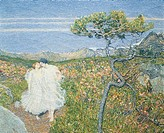 Love at the fountain of life or Lovers at the Sources of Life, 1896, by Giovanni Segantini (1858-1899), oil on canvas, 72x100 cm. Detail.  Milano, Civ...