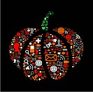 Pumpkin made of social media icons for Halloween. Vector file available.