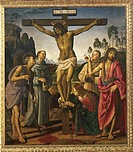 Crucifixion with Saints, 1483-1495, by Pietro Perugino (ca 1450-1523) and Luca Signorelli (1445-1523), oil on wood, 203x180 cm.  Florence, Galleria De...