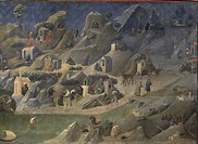 The Thebaid, 1418-1420, by Giovanni da Fiesole known as Fra Angelico (1400-ca 1455). Tempera on wood, 73.5x208 cm. Detail.  Florence, Galleria Degli U...