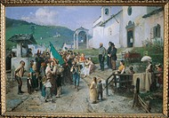 The Departure of the 1866 conscripts, 1878, by Gerolamo Induno (1825-1890), oil on canvas, 134.5 x 200 cm.  Milan, Civico Museo Del Risorgimento (Hist...