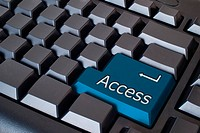 blue access button on black background