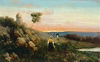 Landscape with figures, by Antonino Leto (1844-1913), oil on canvas, 39x63 cm.  Milano, Civiche Raccolte D'Arte Museo Dell'Ottocento Villa Belgiojoso ...