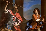 Saul versus David, 1646, by Giovanni Francesco Barbieri, known as Guercino (1591-1666), oil on canvas, 147x220 cm.  Rome, Galleria Nazionale D'Arte An...