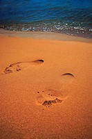 foot trace on desert sand