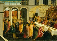 The banquet at Ahasuerus, 1490, by Jacopo del Sellaio (1441-1493), tempera on wood, 45x63 cm.  Florence, Galleria Degli Uffizi (Uffizi Gallery)