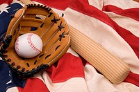 Baseball bat, ball and glove isolated on a flag background