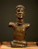 Celtic civilization, France, 1st century b.C. The God of Bouray, bronze statuette of male bust, enamel painted eyes. From La Ferlé Alois, Essonne.  Pa...