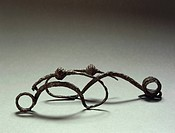 Prehistory, Italy, Iron Age. Villanovan culture. Iron fibulas. From Ceretolo, province of Bologna.  Bologna, Museo Civico Archeologico (Archaeological...