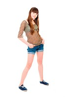 Full_length portrait of a teenage girl isolated