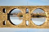 ancient roman bridge detail in the north of portugal