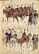 Militaria, Italy, 19th century. Uniforms of the Piedmontese army. Color plate by Quinto Cenni.  Roma, Archivio Dell'Ufficio Storico Dello Stato Maggio...