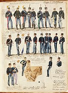 Militaria, Italy, 19th century. Various uniforms of the Kingdom of Italy, 1876. Color plate by Quinto Cenni.  Roma, Archivio Dell'Ufficio Storico Dell...