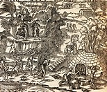 Indian slaves working in mine in Cuba, Illustration from Cosmography by Andre Thevet, engraving