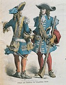 Militaria, France, 17th century - Military uniforms of Louis XIV musketeers  Paris, Bibliothèque Des Arts Decoratifs (Library)