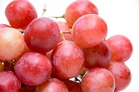 Close_up of Pink grape cluster with isolated on white