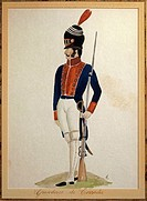 Militaria, Argentina, 19th century. Terrada Grenadier. Watercolor.  Buenos Aires, Museo Histórico Nacional Del Cabildo De La Ciudad De Buenos Aires Y ...