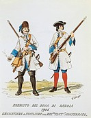 Militaria, Italy, 18th century. Army of the Duke of Savoy. Grenadier and rifleman of Royal Monferrato infantry, 1706. Color engraving by E. Chioppa.  ...