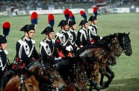Militaria, Italy, 20th century. Carousel of the Corps of Carabineers (Arma dei Carabinieri) in Arena Civica of Milan.