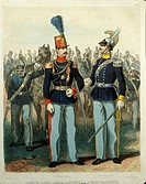 Militaria, Italy, 20th century. Uniform of Colonel of Genoa Cavalry and of Captain of Royal Equestrian Academy. Print.  Pinerolo, Museo Storico Dell'A...