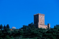 View of the castle of Nogales in Extremadura, Spain.