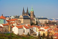 prague - view of hradcany castle and st  vitus cathedral in spring