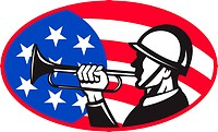 illustration of an American soldier with bugle and stars and stripes flag set inside ellipse done in retro style.