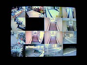 A real cctv security system with multiple camera views of a hotel. 12MP camera